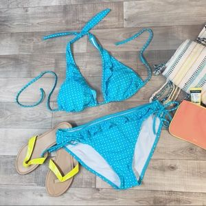 Xhilaration aqua polka dot bikini